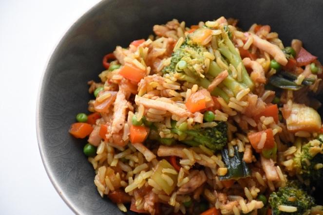 Rijstpannetjes met groenten en kalkoenreepjes (1)