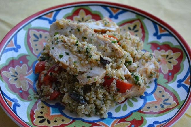 Quinoasalade met gebakken kip
