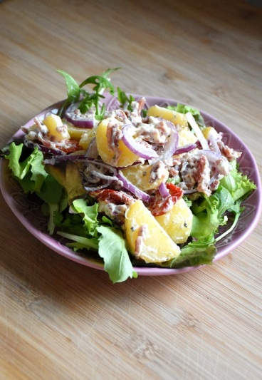Zuiderse aardappelsalade met gerookte ham