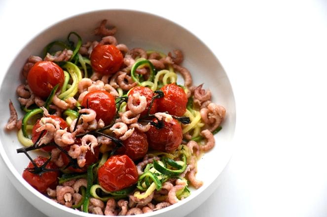 Courgetti met garnalen en tomaat (1)