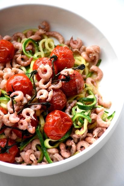 Courgetti met garnalen en tomaat (2)