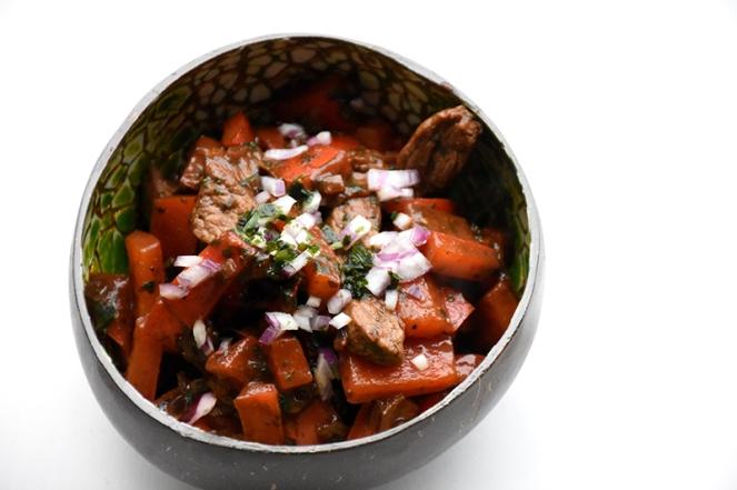 Oosters getinte biefstuk met paprika