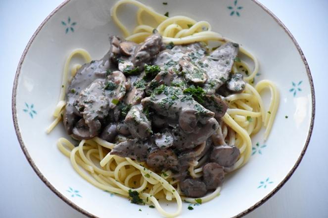 Linguine met biefstuk en champignon (1)