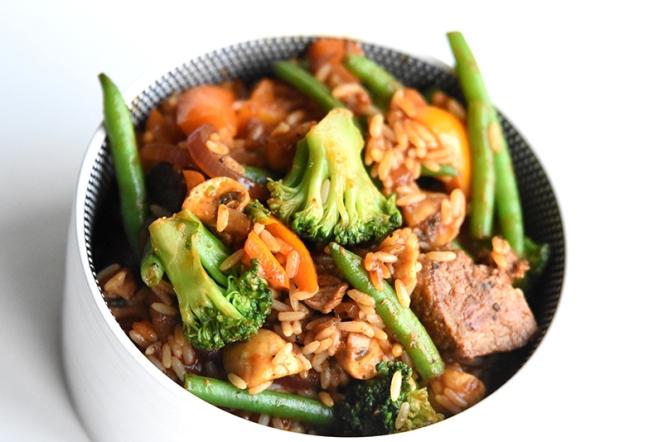 Biefstuk met rijst en groenten (1)
