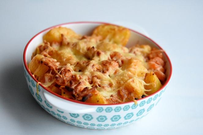 Aardappelpannetje met tomaat en spek