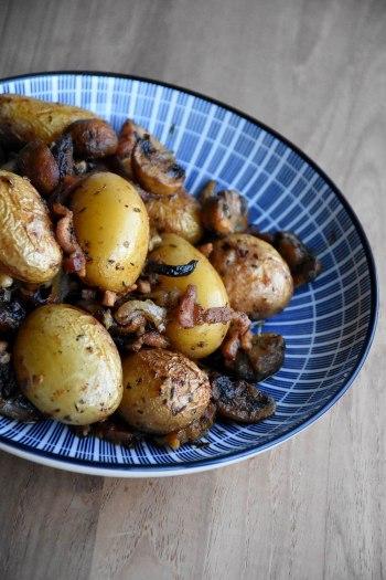 Krieltjes met champignons en spek uit de oven